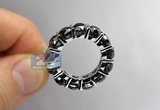 Custom Made Womens Black Diamond Eternity Ring 14k White Gold 14.34 Ct Round