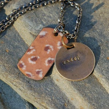 Custom Made Enamel Dog Tag Necklace Handstamped Brass Tag Pendant Enameled Jewelry Animal Print - Sassy
