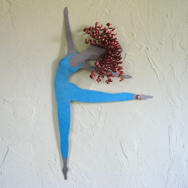 Custom Made Handmade Upcycled Metal Blonde Ballet Dancer Wall Art Sculpture