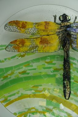 Custom Made Dragon Fly Away- Glass Fused Artwork