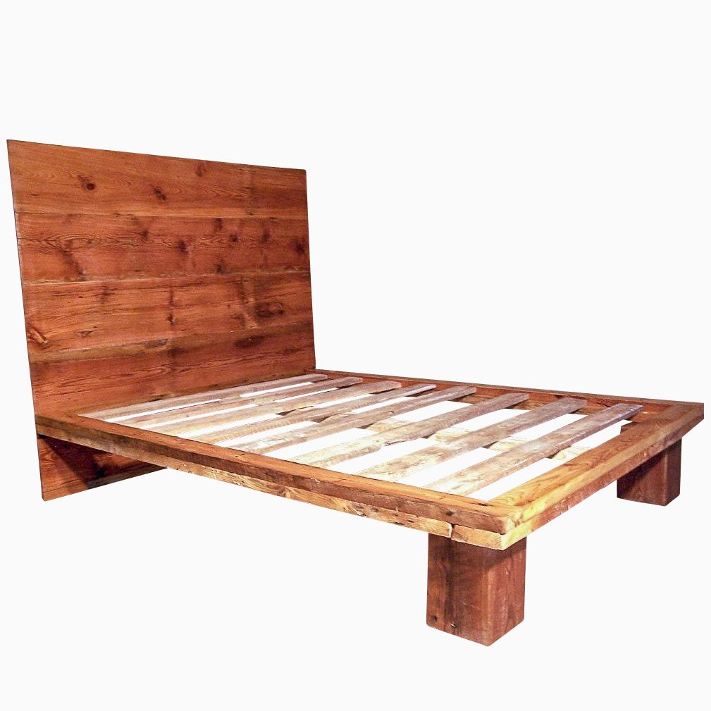 Buy a hand crafted reclaimed wood platform bed from Wood platform bed