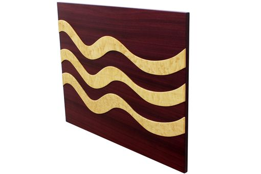 Custom Made 3 Ribbons Floating Wall Panel | Solid Purple Heart & Birdseye Maple