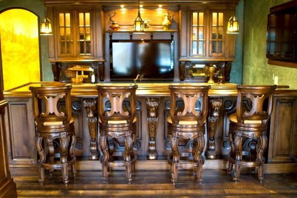 Hand crafted custom wood home bars and pubs by chateau for Custom bar plans