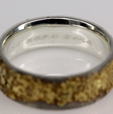 Custom Made 8mm Wide 18k Gold And Sterling Silver Golden Pebble Ring