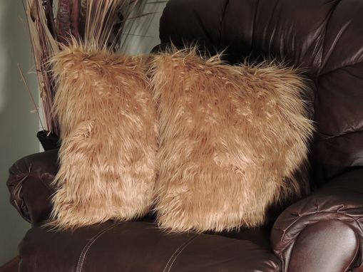 Custom Made Mongolian Caramel Faux Fur 18 X 18 In. Decorative Pillow - Set Of 2