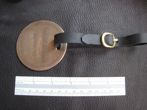 Custom Made Solid Bronze Golf Bag Sports Luggage Tag Id With Latigo Leather Strap