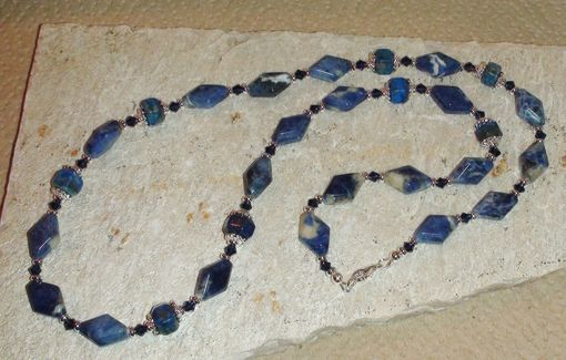 Custom Made Sodalite Diamonds And Lapis Rondelles Necklace With Swarovski Crystals In Silver