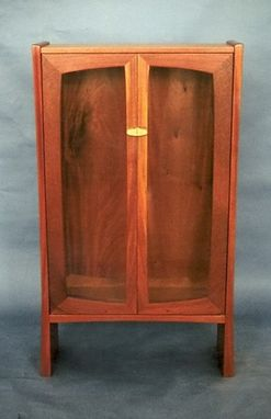 Custom Made Display Cabinet - Honduras Mahogany, With Carved Maple Pulls