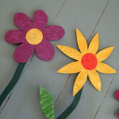 Custom Made Handmade Upcycled Metal Flowers Wall Art Sculpture