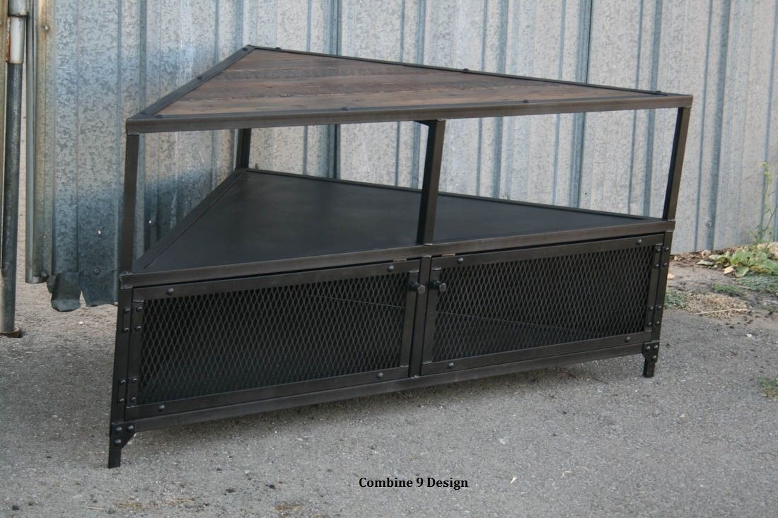 Custom Made Corner Unit Tv Stand Vintage Modern Industrial Steel Reclaimed