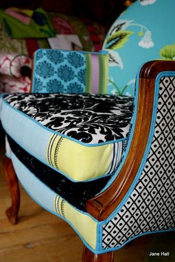 Custom Made Upholstered Chair Vintage Wood Show Arm Chair
