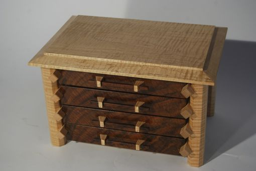 Handmade Jewelry Box In Claro Walnut And Curly Maple
