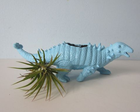 Custom Made Upcycled Dinosaur Planter - Blue Ankylosaurus With Air Plant