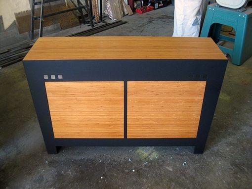 Custom Made Steel And Bamboo Cabinet
