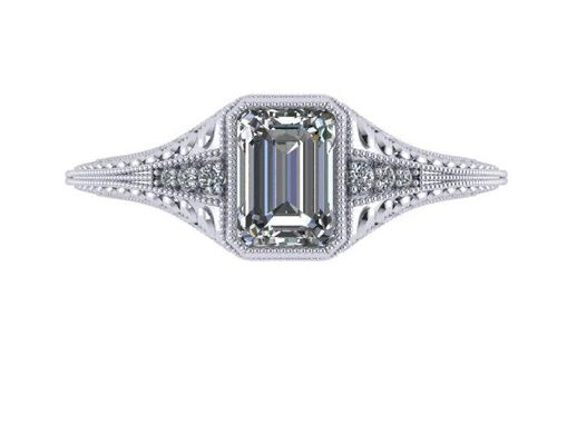 Custom Made Vintage Emerald Cut Diamond Engagement Ring Solitaire Art Deco 14k White Gold 7 X 5