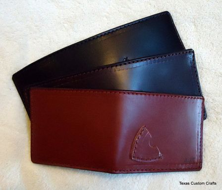 Custom Made Handmade Leather Billfold With Guitar Pick Pocket