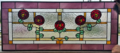 Custom Made Stained Glass Transom Window - Victorian Simplicity - Design 3 (Tw-27)