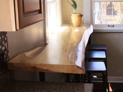 Custom Made Siberian Elm Slab Breakfast Bar