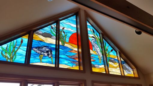 "Custom Made Stained Glass Window - ""Herons On The Sunset"" (W-95)"