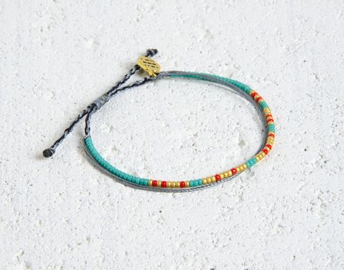 Custom Made Custom Morse Code Bracelet - Teal, Red & Gold