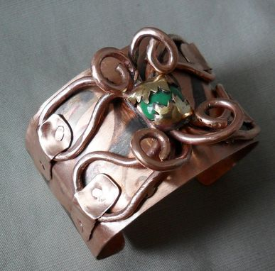 "Custom Made Solid Copper Cuff Bracelet With Butterfly-Inspired Wirework ""Cuff Fly Away With Me''"