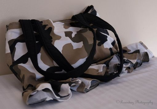 Custom Made Upcycled Camouflage Bag Skirt/ Black Tan White Green, Recycle,