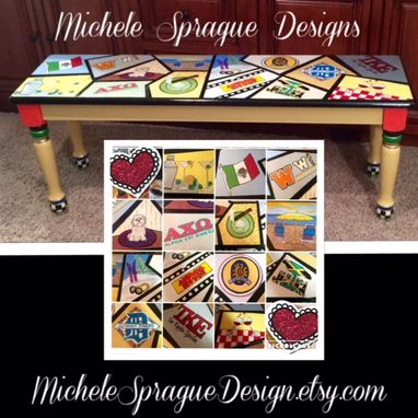 Custom Made Painted Farmhouse Bench//Whimsical Painted Bench//Whimsical Painted Furniture