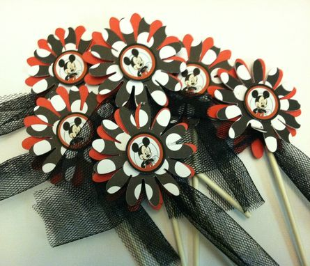 Custom Made Mickey Inspired  Cupcake Toppers, Set Of 12