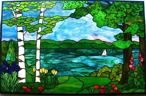 Hand Crafted Lake Geneva Landscape By Gilbertson S Stained