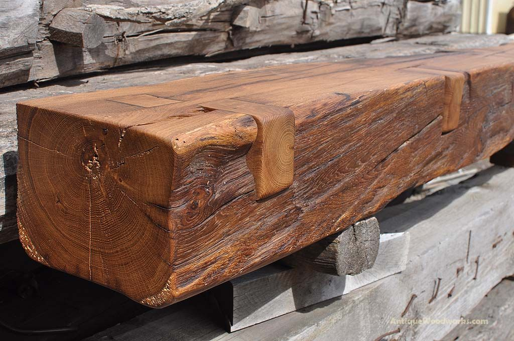 This fireplace mantel beam came from an old granary near Henderson