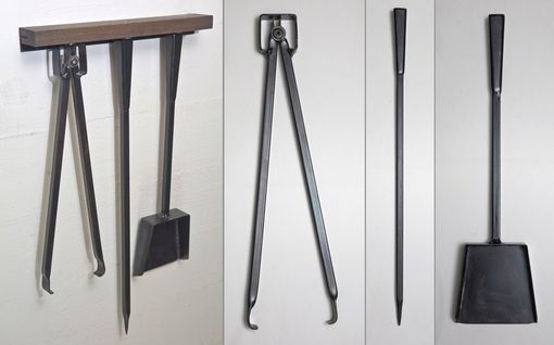 Custom Made Three-Piece Steel Fireplace Toolset