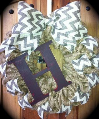 Custom Made Natural Burlap And Chevron Print Wreath