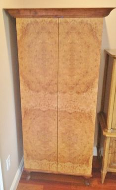 Custom Made Maple Burl Jewry Armoire