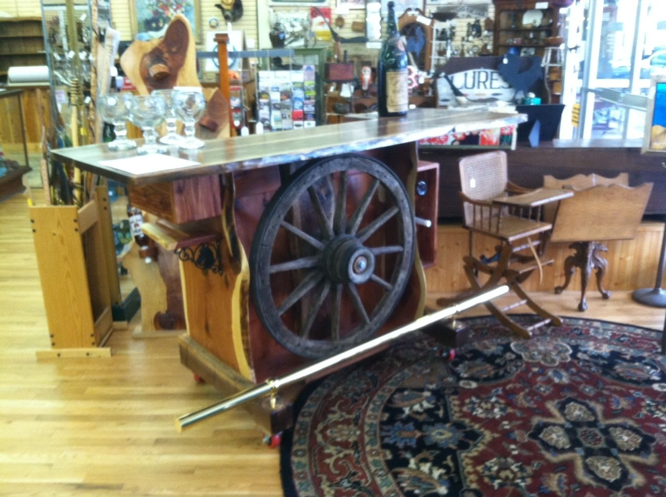 Hand Made Wagon Wheel Bar By Michael James Custom