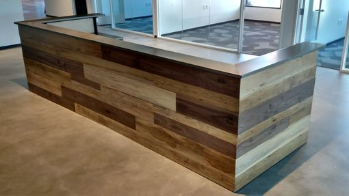 Hand made contemporary reclaimed wood and steel reception desk by - Banconi reception ikea ...