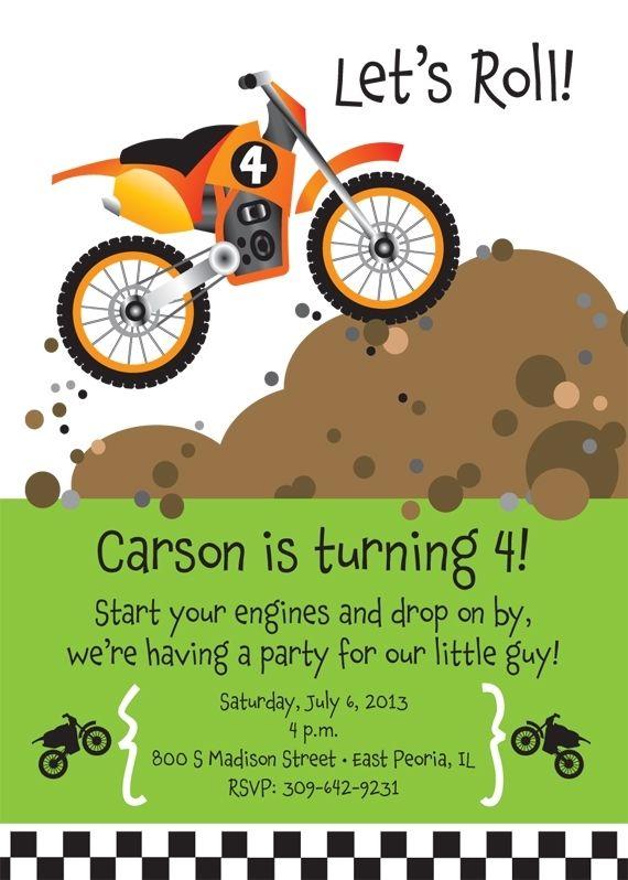 Handmade dirt bike birthday party invitation by t bone squid custom made dirt bike birthday party invitation filmwisefo