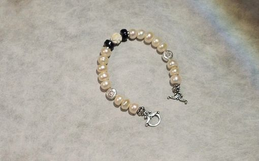 Custom Made Wedding Gift - Freshwater Pearl Bracelet With Sterling Silver Charms