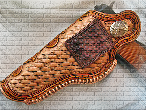 Buy a Hand Made Tooled Leather Holster 1911 Floral Sheridan