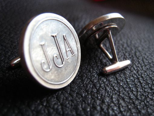 Custom Made Monogrammed  Cuff Links Cufflinks In Sterling Silver - Roman Font