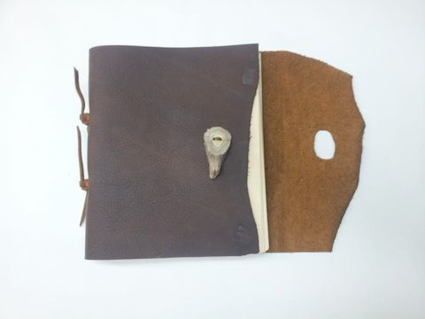 Custom Made Rustic Brown Leather Journal With Antler