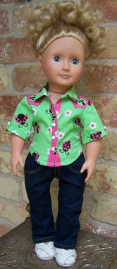 Custom Made Button Front Shirt With Jeans For American Girl 18 Inch Doll