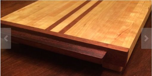 Custom Made Cherry And Honduras Mahogany Butcher Block Cutting Board