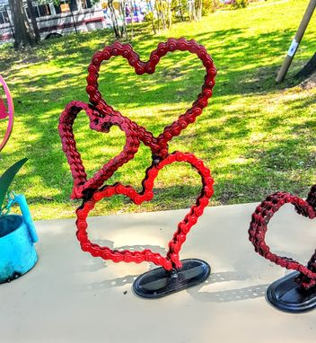 Custom Made Bicycle Chain Art Heart Sculpture By Raymond Guest