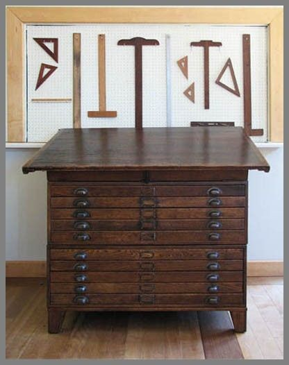 Custom Made Restored Antique Map File/Drafting Table - Hand Made Restored Antique Map File/Drafting Table By Kate Matthews