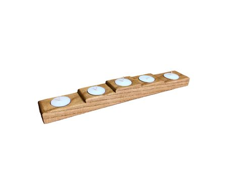 Custom Made Solid Oak 5 Tea Light Candle Base