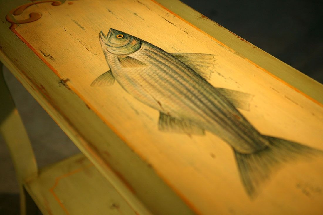 Hand Made Custom Wood Sofa Table With Hand Painting Of Fish by ...