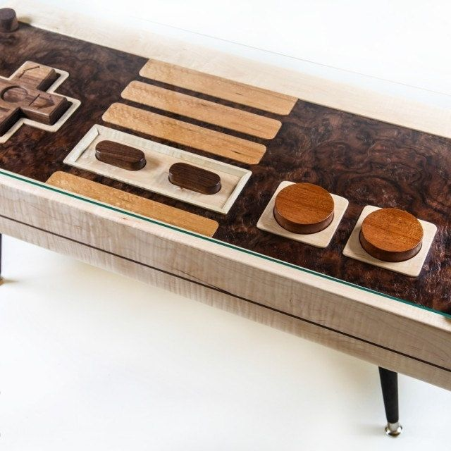 hand crafted nintendo controller coffee table maple / walnut
