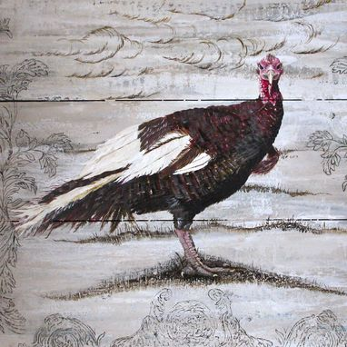 Custom Made Heirloom Turkey Acrylic Painting On Re-Purposed Wood Panels
