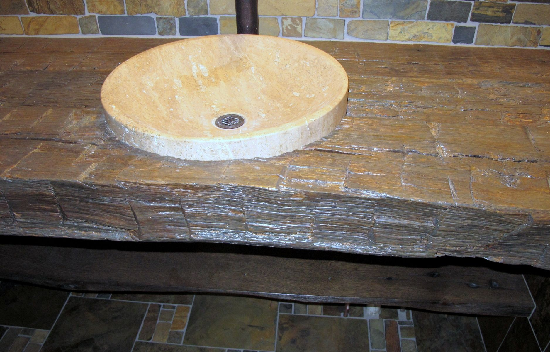 Rustic Stone Countertops : Custom rustic bathroom vanity countertop reclaimed