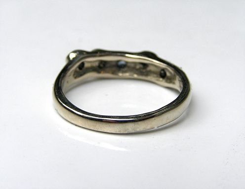 Custom Made Sapphire And Diamond Ring In Custom 14k White Gold